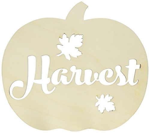 Harvest Decor - Darice 30005461 Fall Decor Pumpkin Harvest Sign-Unfinished