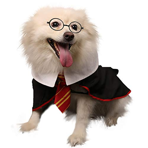 Impoosy Pet Dog Shirts Funny Cat Wizard Costume Cute Apparel Soft Clothes with Glasses (Medium) - http://coolthings.us