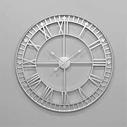 Wall Clocks 80cm Large Metal Decorative Roman Numerals 3D Skeleton Silent Clock for Kitchen,Bedroom,Garden,Living Room,Study,Office (Diameter:34in) (Color : Silver)