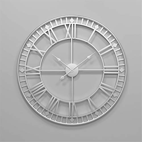 (Wall Clocks 80cm Large Metal Decorative Roman Numerals 3D Skeleton Silent Clock for Kitchen,Bedroom,Garden,Living Room,Study,Office (Diameter:34in) (Color : Silver))