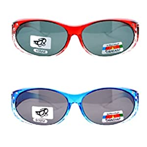 2 Pair of Women's Rhinestone Polarized Fit Over Ombre Oval Sunglasses - Wear Over Prescription Glasses (1 Blue, 1 Red) 2 Carrying Cases Included