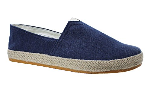 Mocassini espadrillas uomo artigianali casual blu scarpe basse estive tela corda (41)