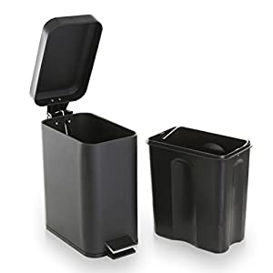 BINO Stainless Steel 1.3 Gallon/5 Liter Rectangle Step Trash Can, Matte Black