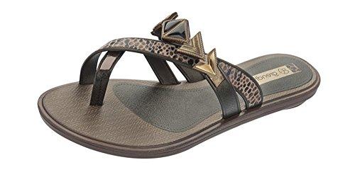Grendha Glamour Thong Womens Flip Flops / sandfarbeale - schwarz Snake