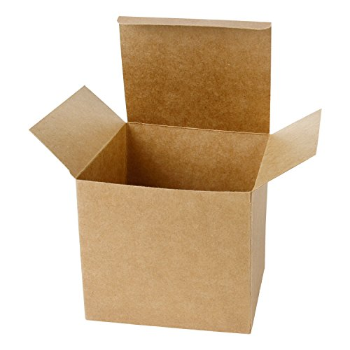 LaRibbons 20Pcs Recycled Gift Boxes - 5 x 5 x 5 inches Brown Paper Box Kraft Cardboard Boxes with Lids for Party, Wedding, Gift Wrap