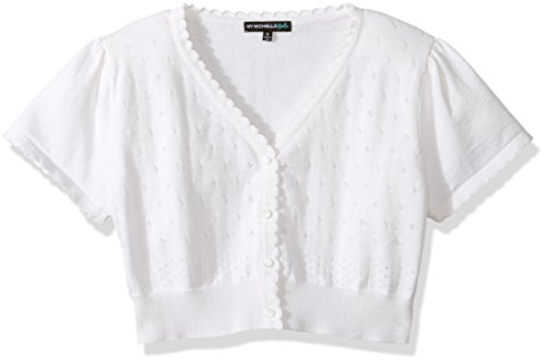 My Michelle Girls' Short Sleeve Cardigan Sweater, White, L (My Michelle Clothes)