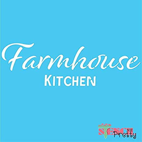 Amazon Com Farmhouse Kitchen Stencil Diy Home Decor Sign Best Vinyl Large Stencils For Painting On Wood Canvas Wall Etc M 17 X 5 25 Brilliant Blue Color Material