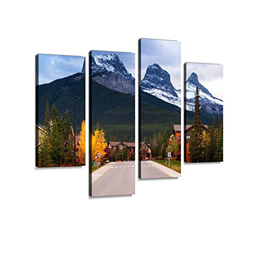 Three Sisters Mountains Canvas Wall Art Hanging Paintings Modern Artwork Abstract Picture Prints Home Decoration Gift Unique Designed Framed 4 Panel