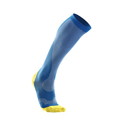 - 2XU Men's Performance Compression Run Sock, Vibrant Blue/Canary Yellow, Large