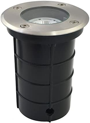 Hoxton Matt Black Brushed Stainless Steel Buried Walkover Drive Over Outdoor Driveway Ground Weatherproof Adjustable 10.5W LED Uplighter IK08 Impact IP67 Rated