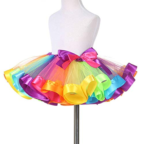(TRADERPLUS Little Girls Layered Rainbow Ribbon Tutu Skirt Dress Ballet Tiered (Large 7-9 years))