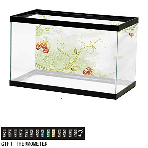 wwwhsl Aquarium Background,Floral,Swirled Petals Lines on Grunge Background Retro Scroll Botany Design,Pale Green Pistachio Ruby Fish Tank Backdrop 30