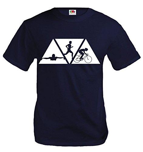 buXsbaum T-Shirt Swimming Cycling Running-XXL-Navy-White