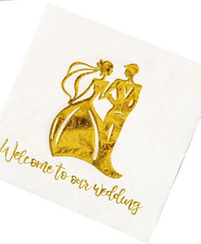 Crisky 100 Pcs Napkins for Wedding Reception Welcome to our Wedding Beverage Napkins 3-Ply Gold Silhouette Cocktail Napkins for Wedding Shower