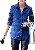 Jmwss QD Womens Sexy Button Long Sleeves Denim Tops Blouse Dark Blue 2XL
