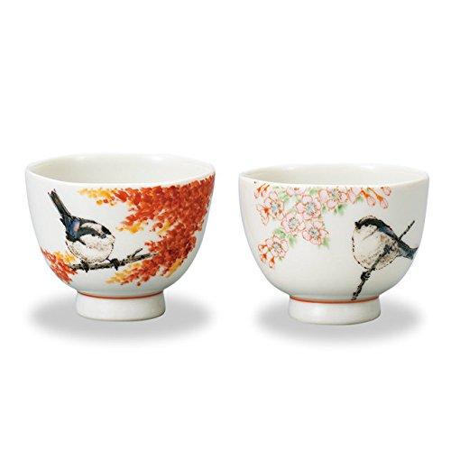 "Japanese drawn Ceramic Porcelain kutani ware. Japanese 2 sake cups set guinomi with wooden box. Spring and autumn."" Japanese ceramic Hagiyakiya 705"