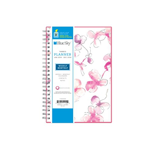 "Blue Sky 2019 Weekly & Monthly Planner, Flexible Cover, Twin-Wire Binding, 5"" x 8"", Orchid"