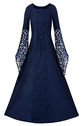 Medieval Queen Dress (EastLife Womens Renaissance Medieval Dresses Lace Up Vintage Floor Length Long Witch Dress)
