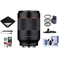 Rokinon 35mm f/1.4 Auto Focus Lens for Sony E-mount Nex Series Cameras - Bundle With 67mm Filter kit, Flex Lens Shade, Lens Wrap, Cleaning Kit, Capleash II, Lenspen Lens Cleaner, PC Software Package