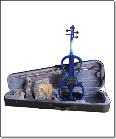 Aileen 4/4 BLUE Electric Violin VE008B + FOAMED CASE + BOW + HEADPHONE + ROSIN