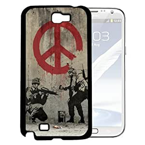 Banksy Soldier Painting with Red Dripping Peace Sign and Light Brown Grunge Background Hard Snap on Cell Phone Case Cover Samsung Galaxy Note 2 N7100