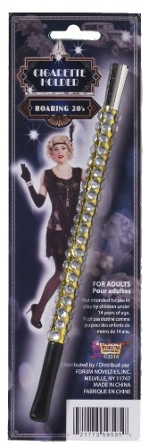 Forum Novelties Women's Vintage Hollywood Look Jeweled Cigarette Holder Costume Accessory, Black/Silver, One Size