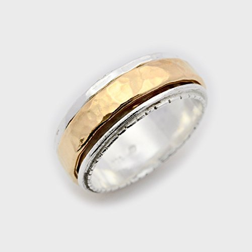 Meditation spinner ring for women hammered spinning wedding band size 6 to 9 by By Nature Jewellery