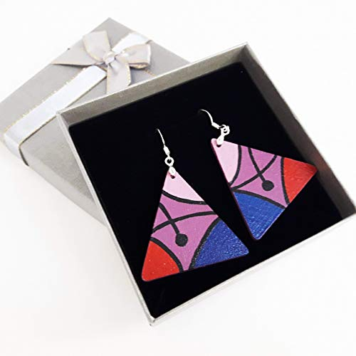 Earrings Hand Painted Women Jewelry Art Designer Birthday Gift Wooden Silver Hooks Unique Fashion Accessory Pink Blue Colorful ()