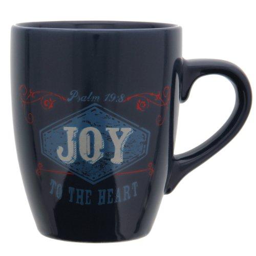 "Retro Blessings Cobalt ""Joy"" Verse Mug – Psalm 19:8"