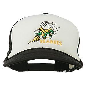 Navy Seabees Symbol Embroidered Mesh Trucker Cap - Black White
