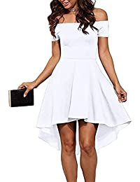 Womens Off The Shoulder Short Sleeve High Low Cocktail...