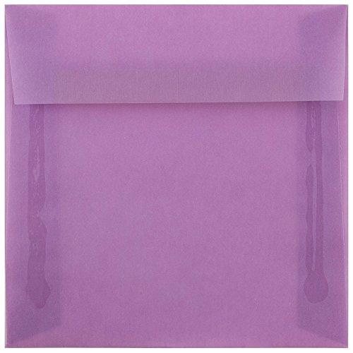(JAM PAPER 6.5 x 6.5 Square Translucent Vellum Envelopes - Lilac - 25/Pack)