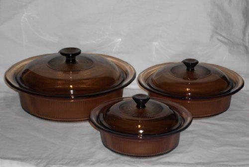 Round Covered Quart 1 Casserole - (3) Corning Amber Visions Visionware Round Covered Casserole Dishes (24 oz, 1 Qt, 2.5 Qt)