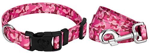 Deluxe Pink Bone Camo Reflective Dog Collar & Leash - Small ()