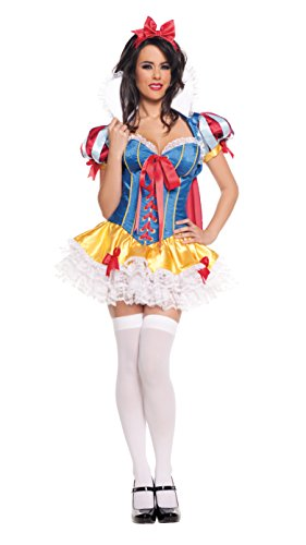 Starline Women's Snow White Deluxe 5 Piece Corset Costume Set, Blue/Red, Medium