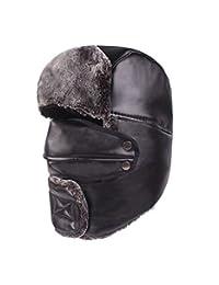 91fa3057649 RACHELJP Bomber Hat Faux Fur Russian Ushanka Trapper Hat Detachable Mask