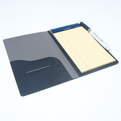 2 Pockets Slim Memo Padfolio F1 with AHZOA Pencil, Including Legal Writing Pad, Handmade 4.33 X 7.28 inch Folder Clipboard Writing Pad (Black) by AHZOA (Image #3)