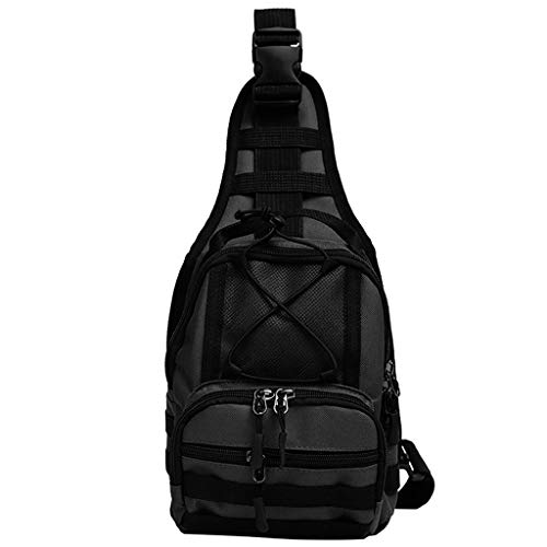 Crytech Unisex Tacticle Multi Pockets Sling Bag Lightweight Water Resistant Multipurpose Crossbody Shoulder Chest Backpack Wild Casual Anti Theft Travel Sack Daypack for Women Men (Black)