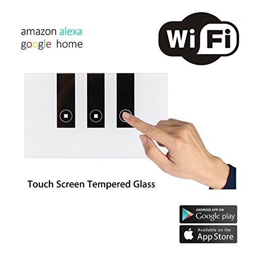 New Smart WiFi Wall Switch Touch Screen Switch Glass Panel Remote Control Lights and Appliances Timer with smartphone Compatible with Alexa