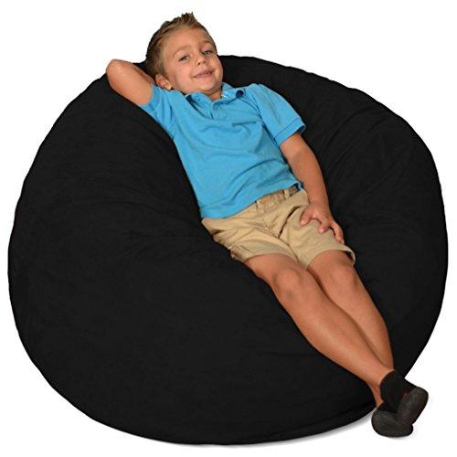Comfy Sacks 3 ft Memory Foam Bean Bag Chair, Black Micro (Memory Foam Bean Bags)