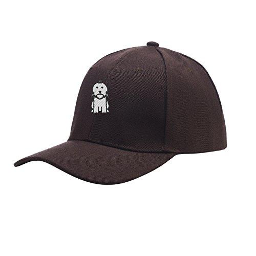 NeeKer Maltese Dog Chocolate Brown Peaked Hat Embroidered Logo Adjustable Dad ()