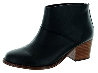 Toms Women's Leila Bootie Black Full Grain Leather Boot (7.5)