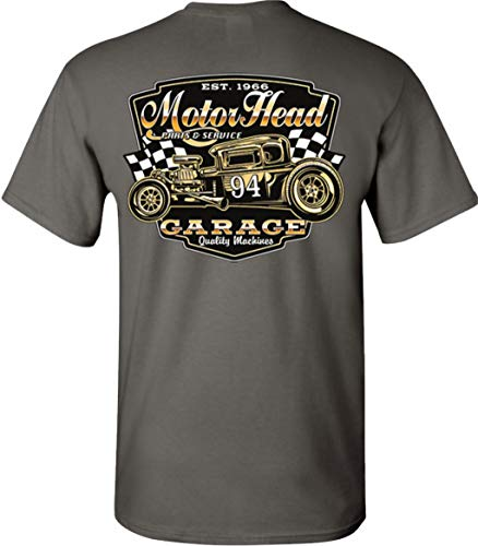 (Motorhead 94 Rt 66 Hot Rod Speed Shop T-Shirt Tee (Small, Charcoal))
