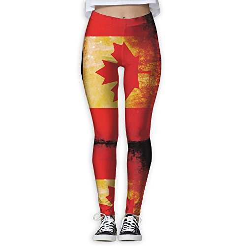 Women's Girl Canada Flag Fashion Slim High Waist Tights Yoga Pants Sport Gym Running Fitness Workout Leggings Skinny Long - Canada Gear Running