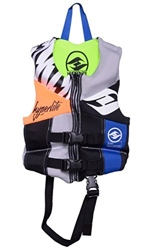 - Hyperlite Child Life Vest, Blue, USCG Approved Type III or Type II Personal Floatation Device, (Zebra Volts - Black/White-Blue-Green, Child (30lbs to 50lbs))