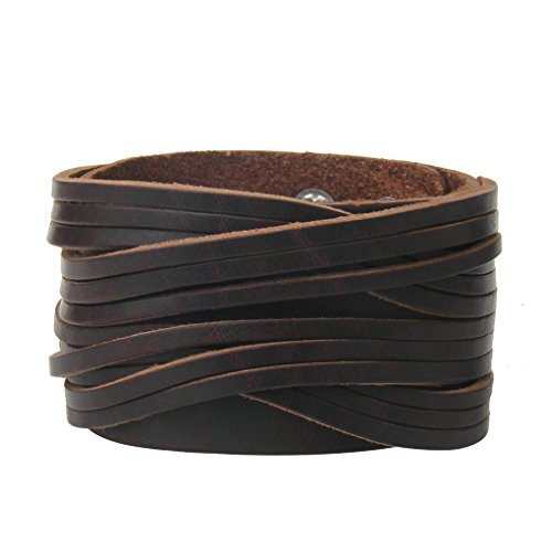 - Bfiyi Brown Leather Bracelet Cuff Bangle Handmade Jewelry Wrap Wristband for Men,Boys Adjustable