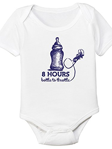 8 Hours Bottle to Throttle, Aviation Themed Baby Onesie (6 Month)