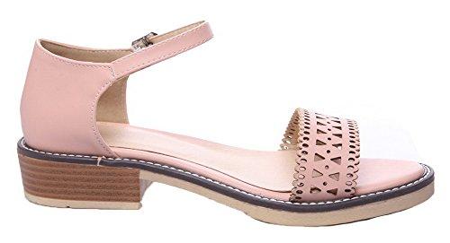 Buckle WeiPoot Heels Pink Pu Open Low Sandals Solid Women's Toe qvxrwvgXzE
