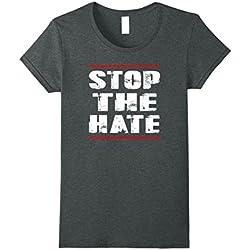 Womens Stop the Hate Anti-hate TShirt Large Dark Heather