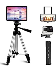 """Tripod, PEMOTech 42"""" Aluminum Camera Tripod Lightweight Tripod with Tablet & Phone Mount Holder & Bluetooth Remote Compatible for iPhone 12 11 Pro Max/XS MAX/XR/X8/8 Plus, Samsung Galaxy etc."""